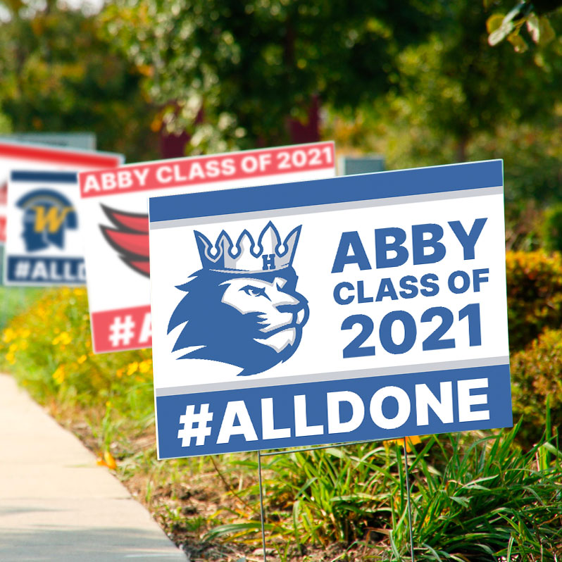 Abby's Hopkins High School 2021 grad party signs