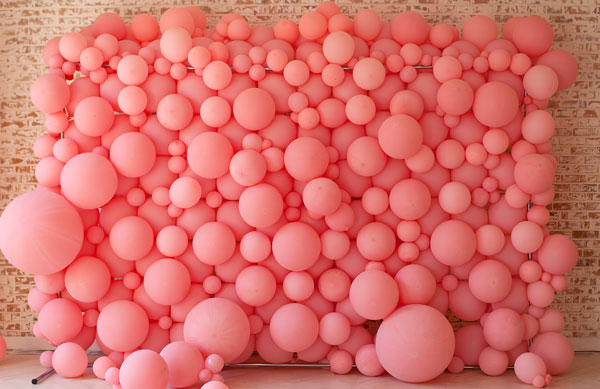 Grad party balloon wall pink color